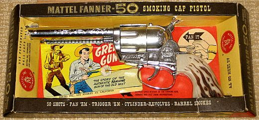 Mattel-smoking-cap-pistol-fanner-50-toy-gun-and-box